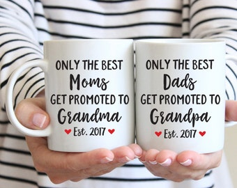 Grandparents Pregnancy Announcement Baby Announcement Grandparent Gifts for Grandparents Mugs Grandma Mug Grandparents Coffee Mug Set Cute