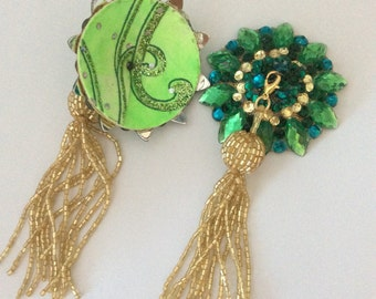 Emerald and chanteuse pasties on gold base with removable gold beaded tassel