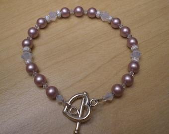 Swarovski Crystal Pink Pearl Sterling Silver Bracelet