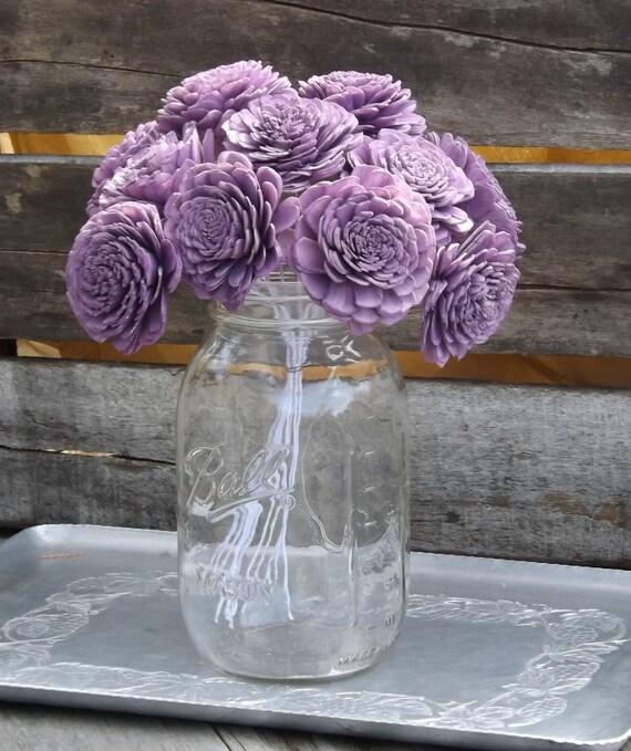 Set of 12 Stemmed or Unstemmed Sola Flowers Purple Light