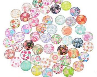 4 mm fleur18 printed glass cabochons