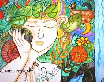 Earth Awakening Original Watercolor Painting Spring Goddess Mother Earth Gaia by Niina Niskanen