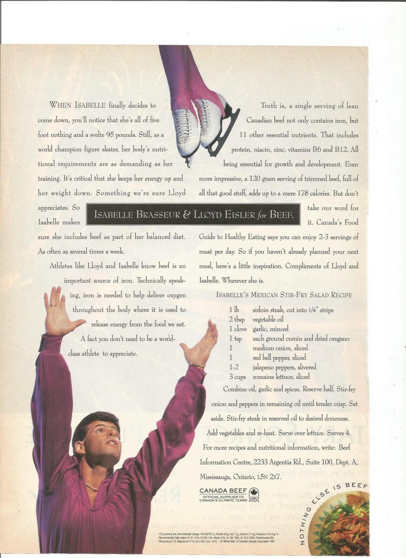1993 Werbung Kanada Rindfleisch Isabelle Brasseur Lloyd Eisler