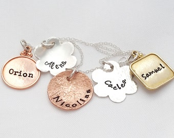 Mother's Necklace  - Mixed Metal -  Mother's Day Gift - Personalized necklace - Mom Name Necklace