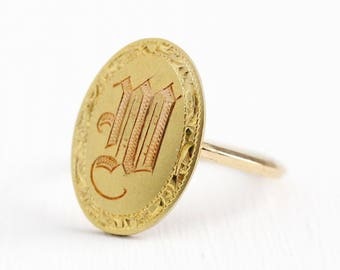 Sale - W Signet Ring - 14k Yellow Gold Edwardian Initial Statement - Size 6 Vintage Cufflink Etched Letter Personalized Conversion Jewelry