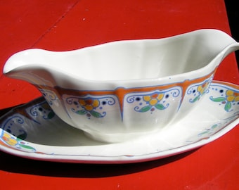 30s Art Deco Catteau Era KERAMIS Astrid GRAVY Boat BELGIUM For Your Holiday Table Serving Dining