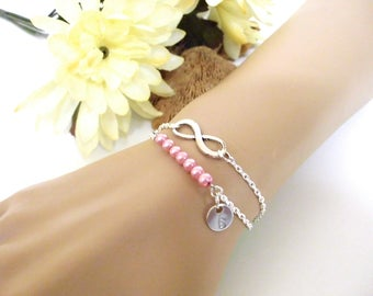 Pearl Bracelet, Initial Bracelet, Layering Bracelet, Dainty Bracelet, Wife Gift, Infinity Jewelry, Gift for Her, Sterling Silver Bracelet