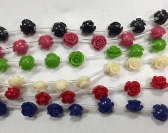 Carved resin beads round, flower, 10mm, 16beads