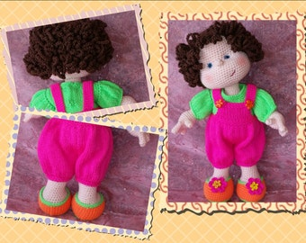Matilda Dolly - PATTERN ONLY for basic doll and KNITTED clothing