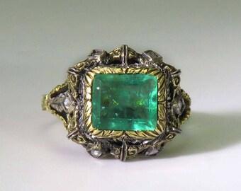 Superb mid 1800s 18k Gold Emerald & Diamond Filigree Ring sz 6.5