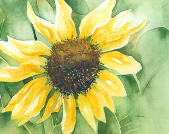 Golden Sunflower - Original Painting for Sale 5 x 7