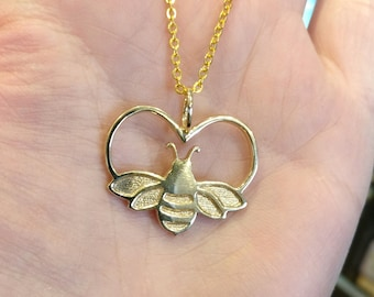 Bee pendant, Bumblebee heart, Polished Brass, insect necklace, wildlife pendant, bumblebee gift,  British wildlife, 3D printed, RTS