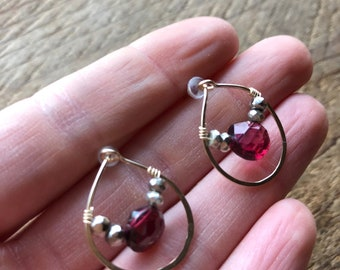 Love - Red Garnet and Pyrite 'Self Love' post earrings