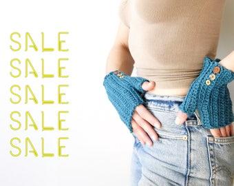 Winter Sale! Turquoise Warrior - crochet fingerless gloves, arm warmers for men and women, merino wool yarn
