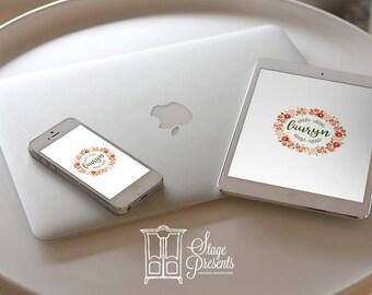 iPad Wallpaper/iPhone Wallpaper -  Personalized Flower Wreath Wallpaper - Personalized Wallpaper - Custom Wallpaper - Phone Background