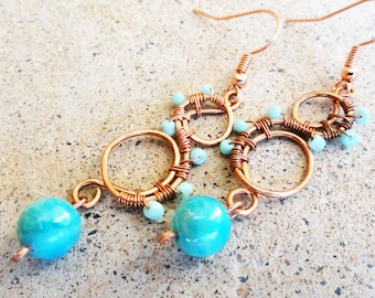Turquoise Blue and Copper Earrings Wire-wrapped Handmade Dangle Beaded Ocean Wave Earrings By Distinctly Daisy