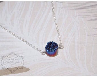 Solitaire Gemstone Necklace, Druzy Quartz, Blue Necklace, Blue Solitaire, Blue Jewellery, Solitaire Jewellery, Simple Necklace, Tenner Gift