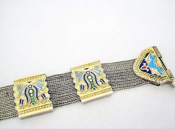 Sterling Silver Bracelet, Signed 84NU, Enhanced Enamel, 925 RARE