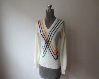 Incredible '60s 'Royal Stuart' Women's Novelty Golf Sweater, Chenille Argyle Golf Clubs! Med - Large