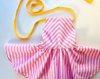 Girls Dress Baby Girl Dress Toddler Dress Girls Twirl Dress Birthday Dress Summer Dress Lemonade Pink Stripes Pink Dress Retro