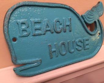 Whale/ Whale Sign/ Beach House Sign/ Cast Iron Wall Decor/ Beach Decor/ Nautical Decor/ Blue Whale/ Home and Garden