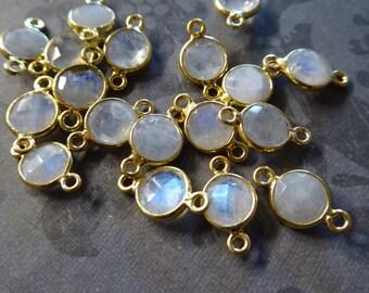 1-25 pcs, MOONSTONE Gemstone Connector Link Pendant Charm / 7 mm Bezel Set 24k Gold Plated or Sterling, june birthstone gcl2.G gc sgc ll