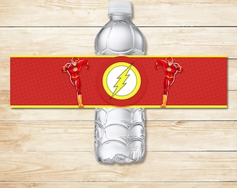 The Flash Water Bottle Label // The Flash Drink labels // The Flash Water Bottle // Superhero Party // The Flash Party Favors