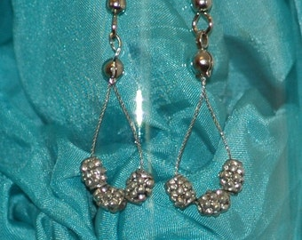 Nubby loops earrings, reclaimed silver spacer beads on wire