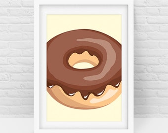 Chocolate Donut – Donut Art, Donut Print, Modern Home Wall Art, Nursery and Kids Room, Digital Download, Scalable Printable - All sizes