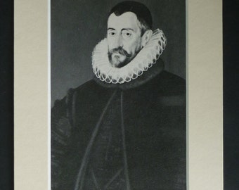 Vintage Historic Print of Francis Walsingham, Available Framed, English Art, Tudor Gift, Political History of England British Secret Service