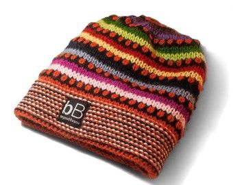 Orange Rainbow beanie / Knit hat / Hand knit hat / Fleece hat / Ski hat / Snowboard hat / Winter hat / Alpaca hat / Wool hat / Ethnic hat