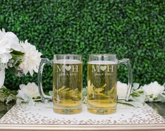 Personalized Beer Mug Set - (Set of TWO) Custom Engraved Beer Glass 12oz - Personalized Wedding Gift - Anniversary Present - Engagement Gift