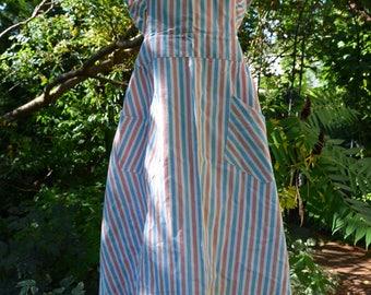 Retro Vintage /Scandinavian Pinafore Apron/ Blue Pink White/ Size S M/ Stripes/  Sweetheart Neckline