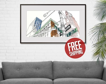 NEW YORK, Empire State Building, 5th Avenue and East 31st, One Way Sign, Ink & Acrylic, Giclée Print, Art Poster, Home Decor, FREE Shipping!