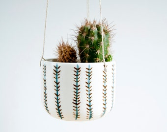 Ceramic hanging planter for succulent, Ceramic hanging plant pot, Ceramics and pottery, Pottery hanging planter, Cacti planter, Ceramics