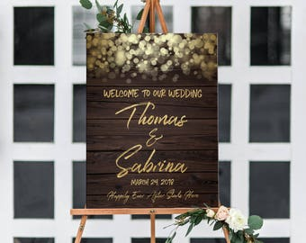 Wedding welcome sign Printable rustic wood with string lights, bokeh lights personalized garden wedding welcome sign DIGITAL poster sizes