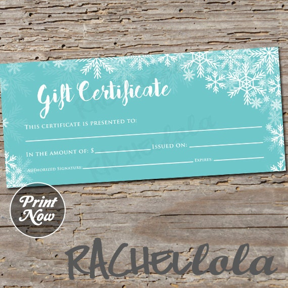 Items Similar To Winter Blue Snow Printable Gift Certificate