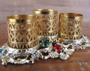Vintage Three Lipstick Holder Ornate Gold and Silver Filigree with Jewels