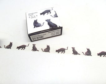 Cat Washi Tape - Black Cat Stickers - Cat Silhouette, 15mm x 7m