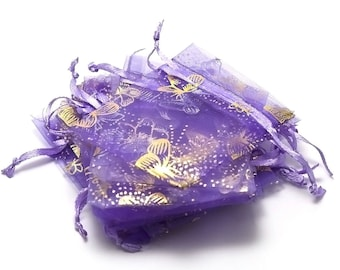 10 small pockets organza, butterfly gifts purple 65 x 95 mm