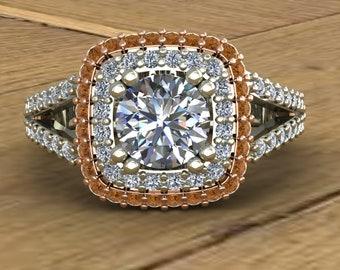 Moissanite Engagement Ring - Cognac Diamond Double Halo - Split Shank - 14k Rose and White Gold - An Original Design by Charles Babb