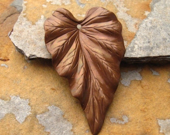 Trinity Vintage Patina  Large Leaf Focal 23x37mm -  Trinity Brass Co. LOW SHIPPING