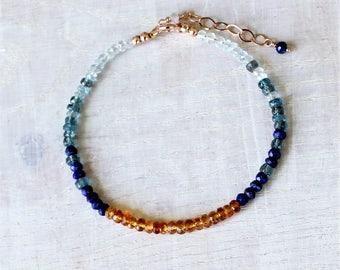 Citrine Lapis Kyanite Aquamarine Bracelet Rose Gold Filled, Delicate Layering Bracelet, Dainty Stacking Bracelet, November Birthstone