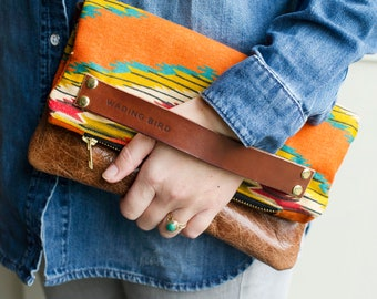 Leather bag, leather handbag, leather crossbody, leather clutch, leather clutch bag, leather, aztec