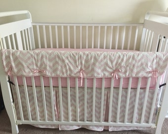Pink Chevron Crib rail cover and skirt