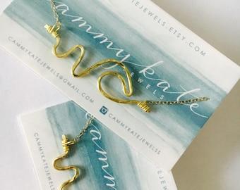Beach Necklace Gold Wave Necklace Lifeguard Necklace