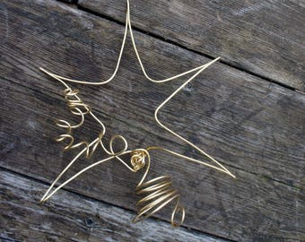 Small Gold Star Christmas Tree Topper In Solid Brass