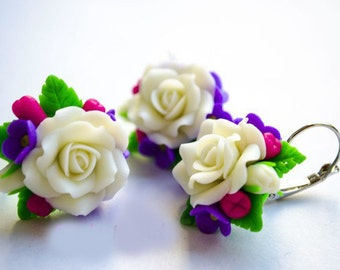 Rose set, flower ring, bright  earring, bridal accessory, cold porcelain, bridesmaid accessory, bridesmaid , flowers