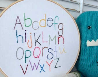 READY TO SHIP . alphabet hand embroidery . nursery decor . gender neutral design . baby shower . cool kids decor . learning tool . 8 inches
