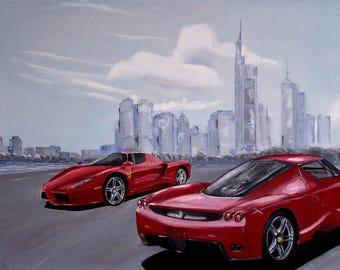 Ferrari Enzo, Skyline, Frankfurt am Main, painting, oil painting, car, car, sports car, oil painting, abstract